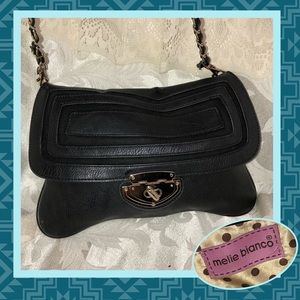 Melie Bianco Black Leather Small Evening Bag